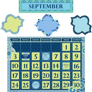 Blue Harmony Calendar Bulletin Board Kit