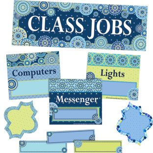 Blue Harmony Class Jobs Bulletin Board Kit - 81 pieces