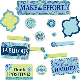 Blue Harmony Class Management Bulletin Board Kit - 89 pieces