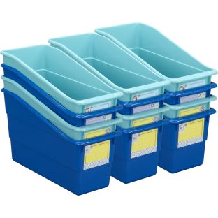 Blue Harmony Durable Book And Binder Holders - 12 bins, 36 labels