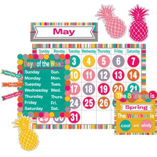 Tropical Punch Calendar Bulletin Board Kit - 114-piece set