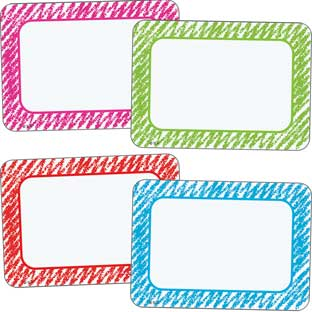 Colorful Scribble Name Tag Labels - 72 labels