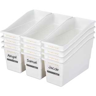 Aim High Durable Book And Binder Holders - 12 bins, 40 labels