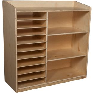Wood Designs™ Mobile Sensorial Discovery Shelving - Without Trays - 1 storage unit