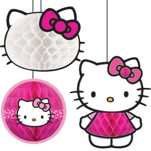 Hello Kitty Honeycomb Decorations - 3 decorations