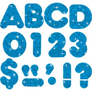 "Blue Sparkle 4"" Casual Ready Letters® - 72-piece set"