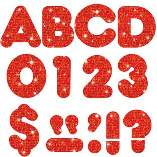 "Red Sparkle 4"" Casual Ready Letters® - 72-piece set"