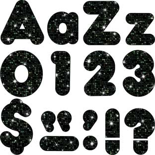 "Black Sparkle 4"" Ready Letters®"