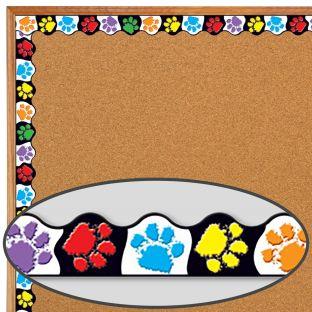 Create A Fun Classroom Theme With Paw Prints Border Trim - 39 feet of border trim