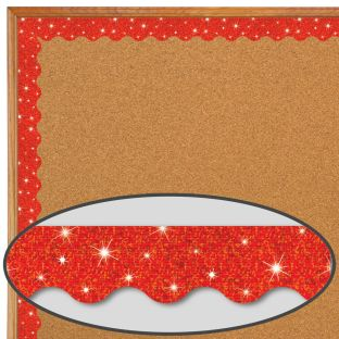 Red Sparkle Scalloped Border Trim - 32.5 feet of border trim
