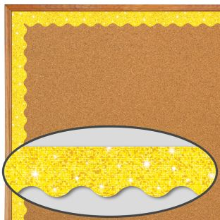 Yellow Sparkle Scalloped Border Trim - 32.5 feet of border trim
