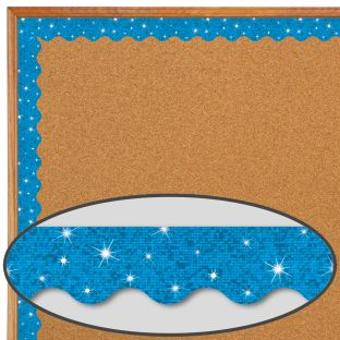 Blue Sparkle Scalloped Border Trim - 32.5 feet of border trim