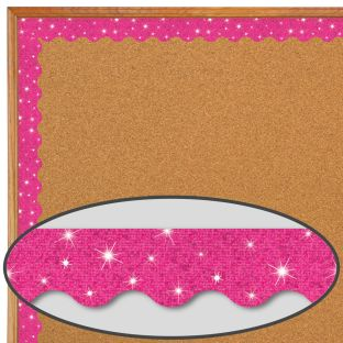 Hot Pink Sparkle Scalloped Border Trim - 32.5 feet of border trim