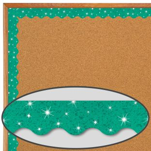 Teal Sparkle Scalloped Border Trim - 32.5 feet of border trim