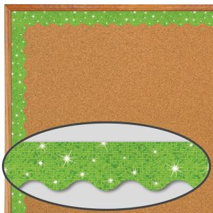Lime Sparkle Scalloped Border Trim - 32.5 feet of border trim