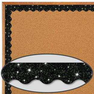 Black Sparkle Scalloped Border Trim - 32.5 feet of border trim