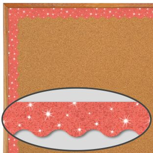 Coral Sparkle Scalloped Border Trim - 32.5 feet of border trim