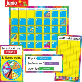 Spanish Annual Classroom Calendar - 106-piece set