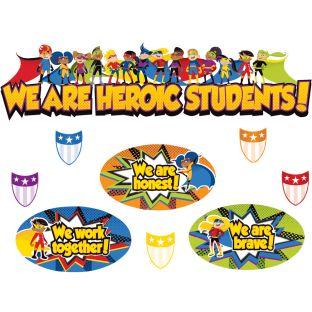 Super Power Heroic Students Mini Bulletin Board Set