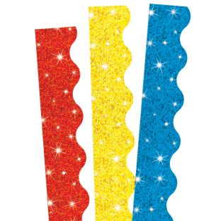 Primary Colors Sparkle Scalloped Border Trim Bundle - 97.5 feet of border trim