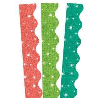 Coral, Teal and Lime Sparkle Scalloped Border Trim Bundle