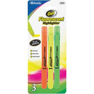 Fluorescent Gel Highlighters - 3 highlighters