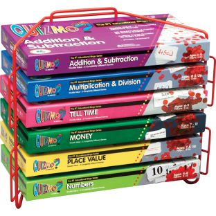 Quizmo Math Game Series Grades 1-3 - 6 games and a storage rack