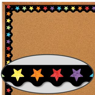 Celebrate Learning Watercolor Stars Scalloped Borders - 13 border strips