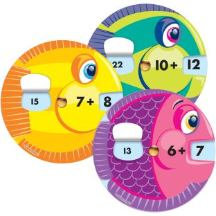 Math Wheels: Addition Facts Curriculum Cutouts - 18 wheels