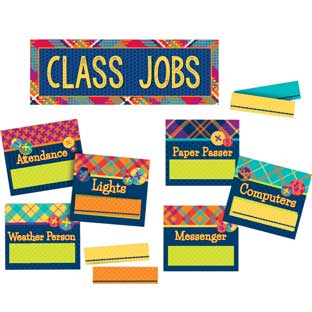 Plaid Attitude Class Jobs Mini Bulletin Board Set
