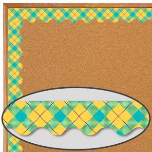 Plaid Attitude Yellow Argyle Deco Trim® Extra Wide Diecut
