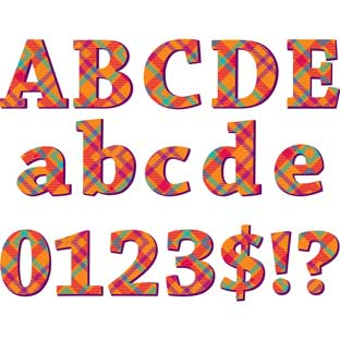 Plaid Attitude Orange Deco Letters