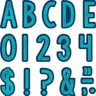 Plaid Attitude Blue Deco Letters