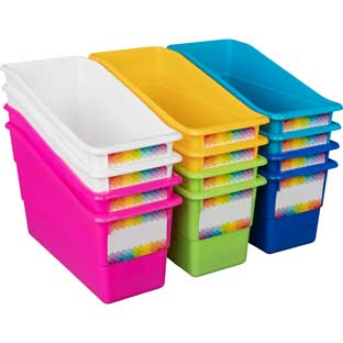 Rainbow Durable Book And Binder Holders - 12 bins, 36 labels