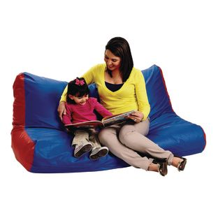 School Age Double High Back Lounger - Blue and Red