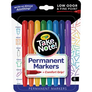 Take Note! 8-Count Permanent Markers, Fine Point