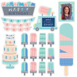Calm and Cool Happy Birthday Mini Bulletin Board Set