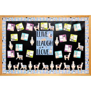 Bold and Bright Llamas Bulletin Board Collection - 1 multi-item kit