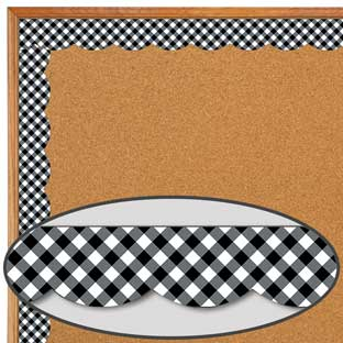 Schoolgirl Style Black and White Gingham Scalloped Borders