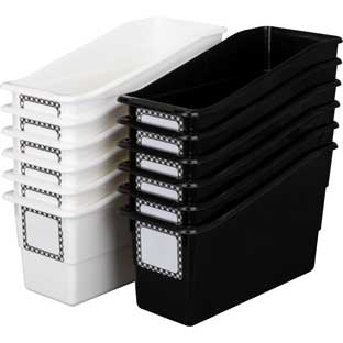 Black and White Gingham Durable Book And Binder Holders - 12 book and binder holders, 40 labels