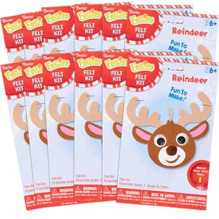 Felt Reindeer Ornament Craft Kit - Set Of 12