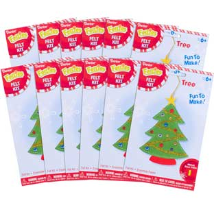 Felt Christmas Tree Ornament Craft Kit - Set Of 12