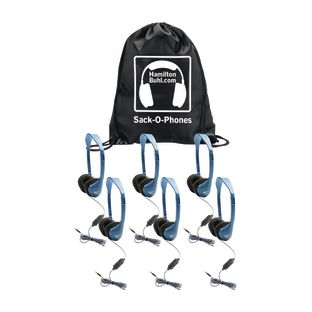 HamiltonBuhl Sack-O-Phones – 6 Pack: Headset with In-Line Microphone and Volume Control