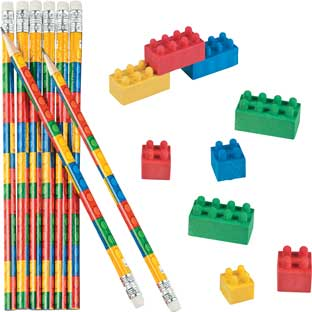 Building Bricks Pencils And Erasers – Set Of 24