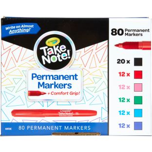 Take Note! Permanent Markers With Comfort Grip  Set Of 80