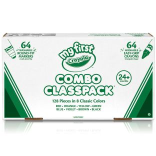 Crayola Combo Classpack  64 Washable Markers And Crayons In 8 Classic Colors
