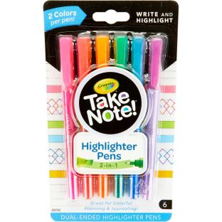 Take Note! 2-in-1 Highlighter Pens  Set Of 6