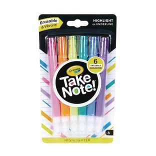 Take Note! Erasable Highlighters  Set Of 6
