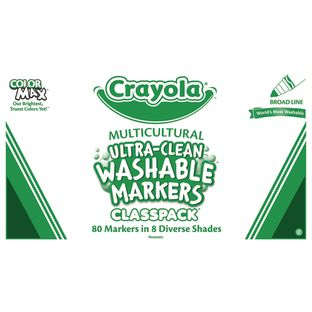 Crayola® Multicultural Ultra-Clean Washable Markers Classpack – 8 Assorted Diverse Shades (80 Markers)