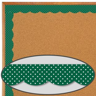Industrial Café Green With White Polka Dots  Scalloped Border